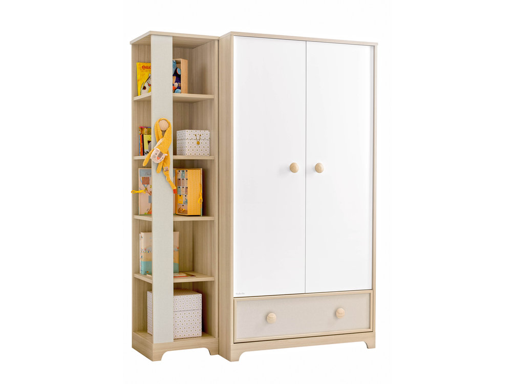 armoire 2 portes olympe avec biblioth que armoire enfant. Black Bedroom Furniture Sets. Home Design Ideas