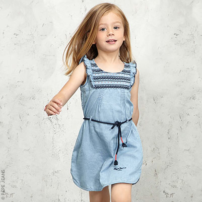 Pepe Jeans Robe en chambray et broderies