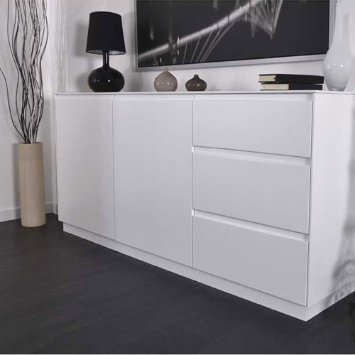 soldes buffet design blanc laqu rom o axe design soldes decoclico ventes pas. Black Bedroom Furniture Sets. Home Design Ideas