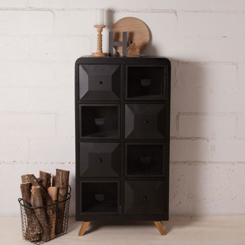 biblioth que en m tal noir 8 tiroirs decoclico factory ventes pas. Black Bedroom Furniture Sets. Home Design Ideas