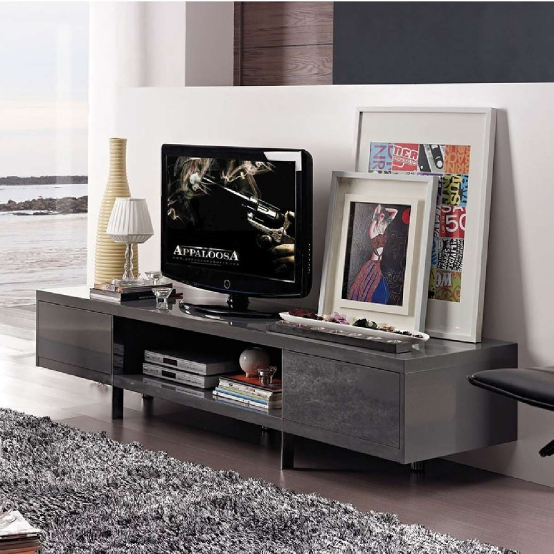 Banc tv design laqu lucia gris atylia meuble tv atylia for Atylia meuble tv