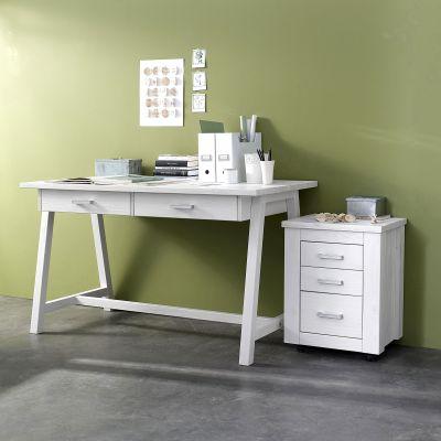 bureau 3 suisses bureau okyl lasur blanc en pin. Black Bedroom Furniture Sets. Home Design Ideas