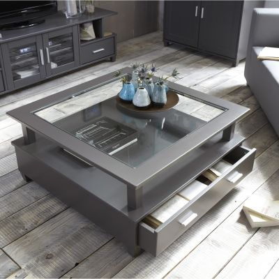 Table basse 3 suisses table basse slate grey 2 grands tiroirs ventes pas - Table basse en soldes ...