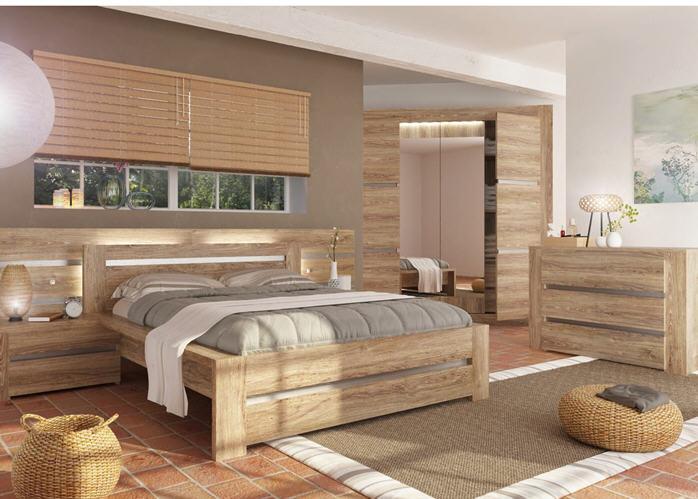 lit adulte wood pour couchage 140x190cm lit auchan pas cher ventes pas. Black Bedroom Furniture Sets. Home Design Ideas