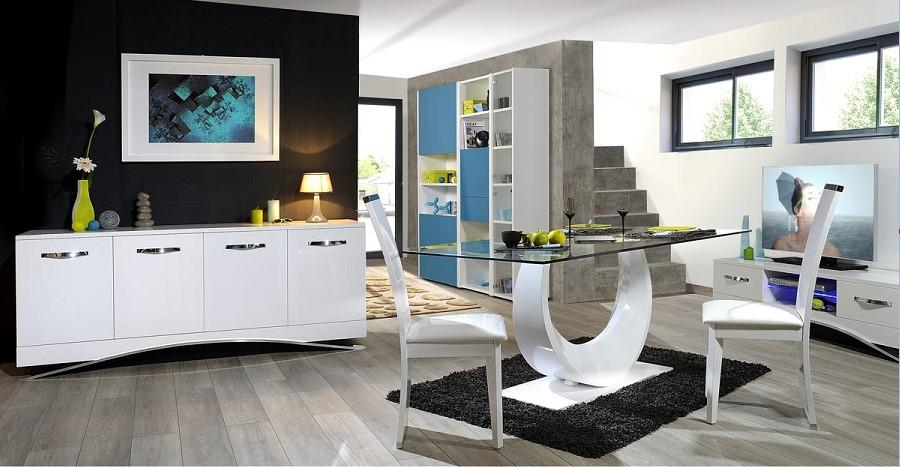 Bahut move 4 portes l200 buffet auchan pas cher ventes for Salle a manger contemporaine blanche