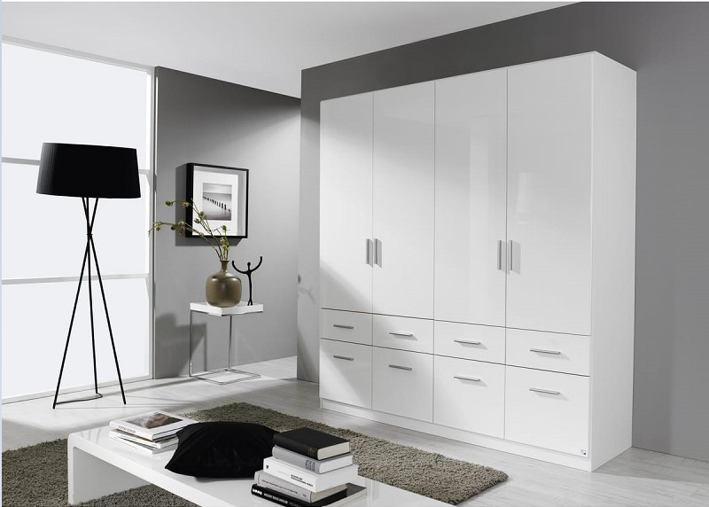 armoire 4 portes 8 tiroirs pak pas cher armoire auchan. Black Bedroom Furniture Sets. Home Design Ideas