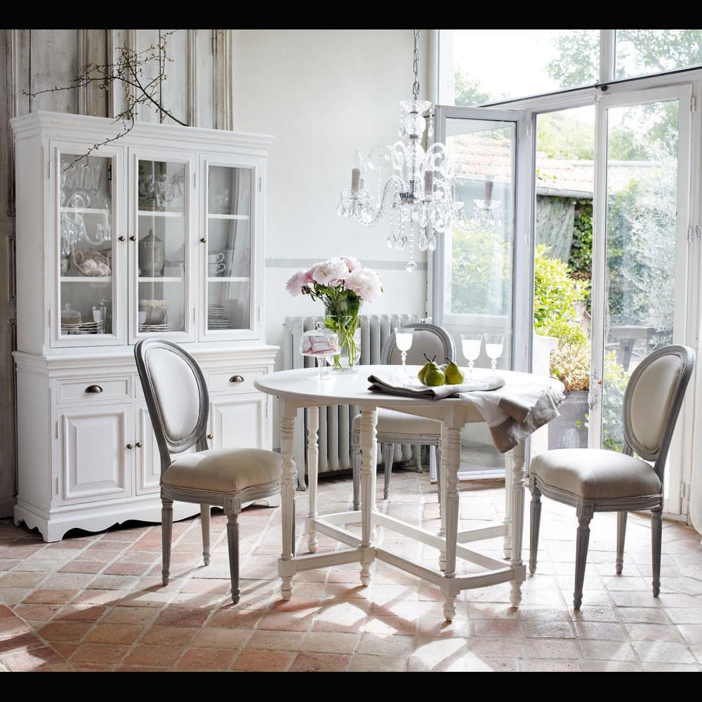 Canapé Campagne Chic Pas Cher chaise médaillon en lin et hévéa louis - chaises maisons de