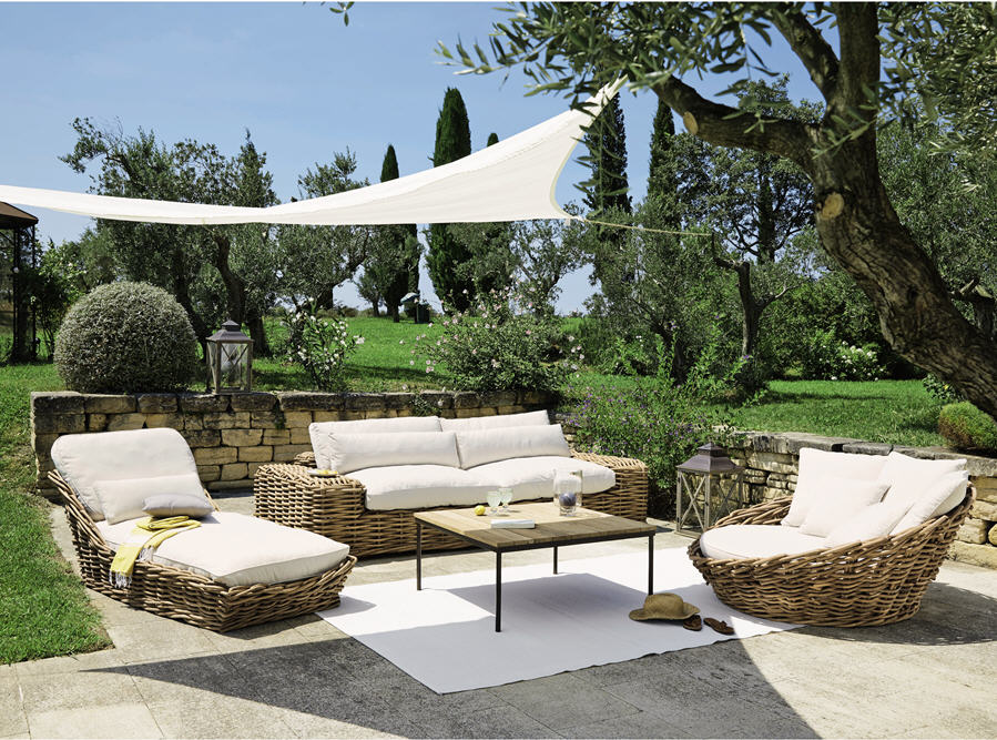 canap 3 4 places st tropez en rotin et tissu ivoire canap de jardin maisons du monde. Black Bedroom Furniture Sets. Home Design Ideas