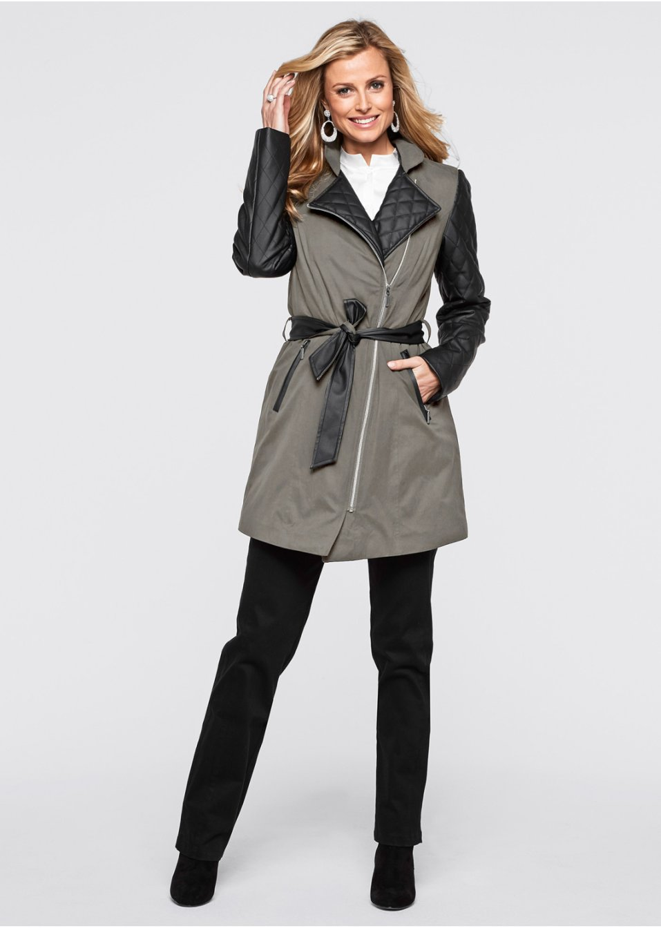veste femme bonprix la veste longue gris pierre noir ventes pas. Black Bedroom Furniture Sets. Home Design Ideas