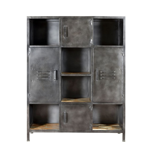 biblioth que arati 6 niches 4 portes bois rendez vous deco. Black Bedroom Furniture Sets. Home Design Ideas