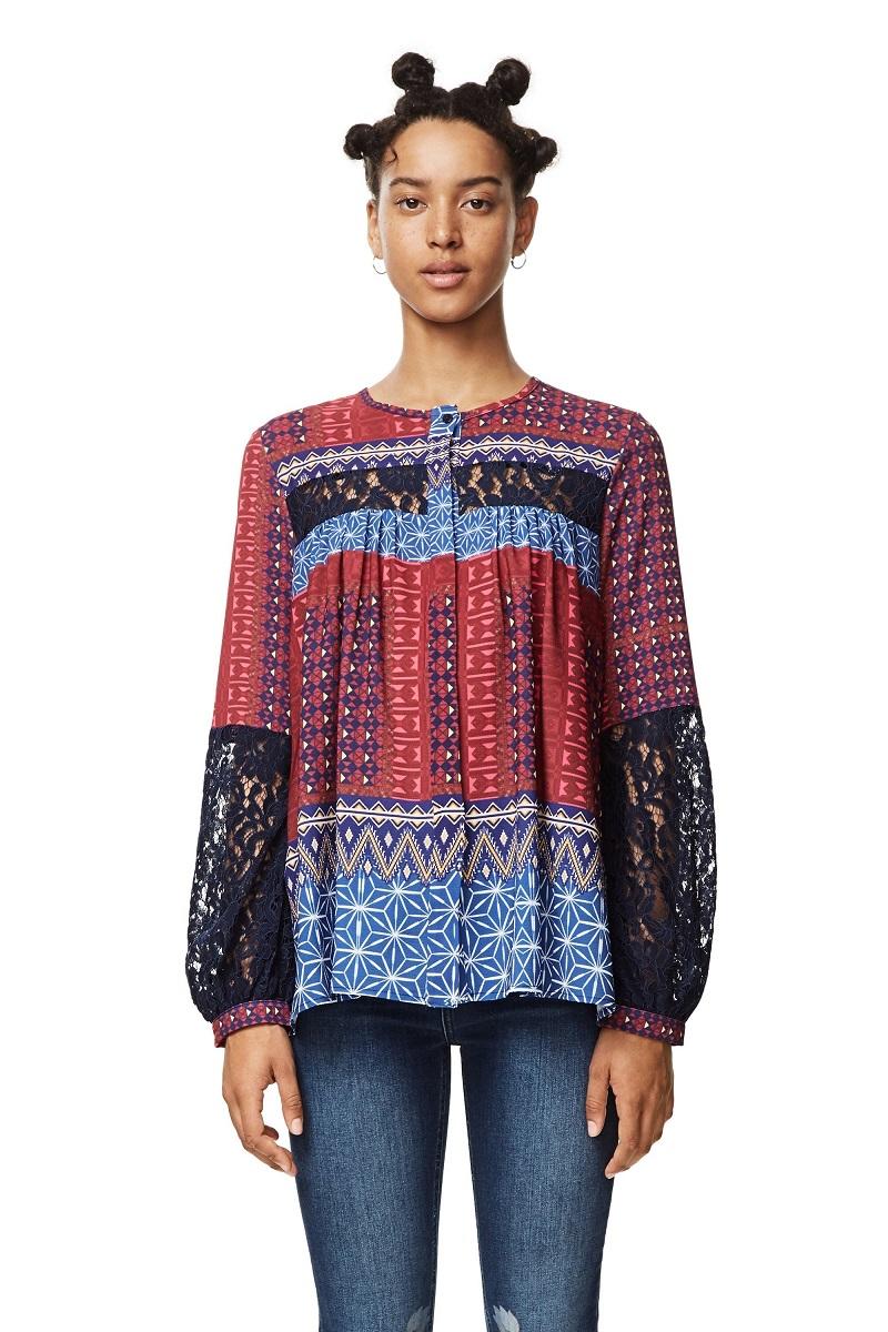 Chemise à manches longues Mona Fucsias Desigual pour Femme