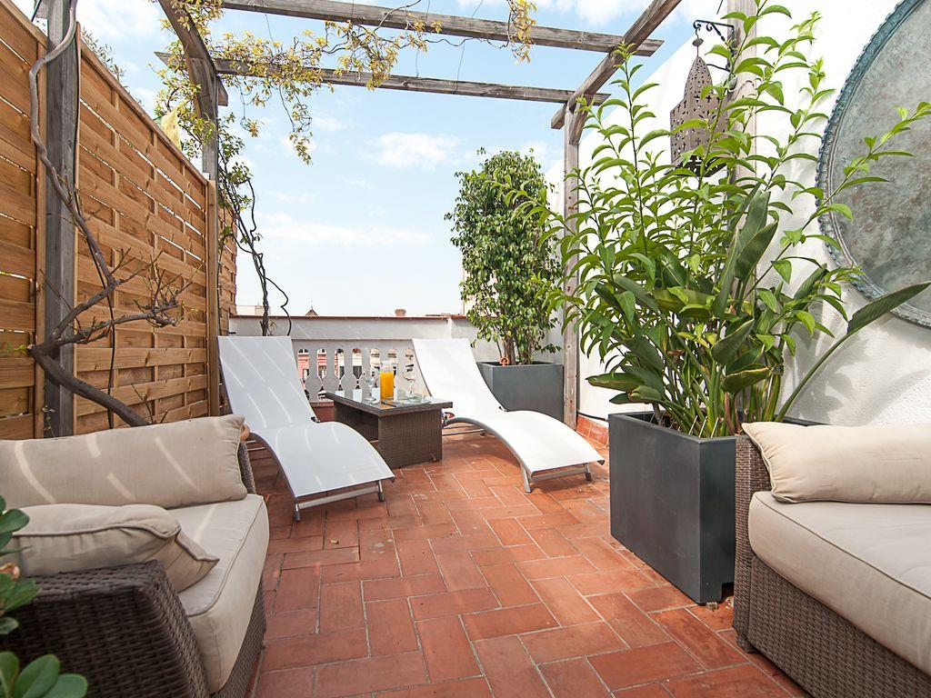 Abritel Location Barcelone - Penthouse plat et terrasse dans le centre et exclusif Rambla Catalunya
