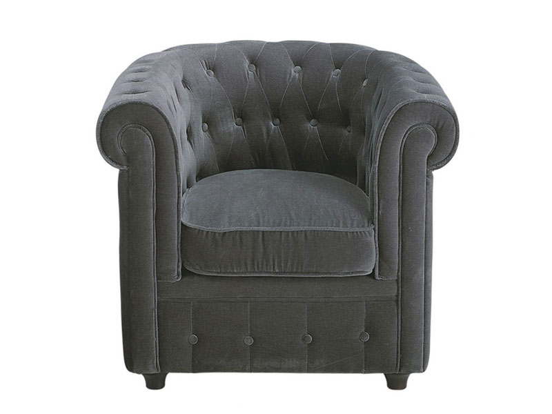 fauteuil usine deco achat fauteuil chesterfield en velours prix usinedeco 149 00 euros. Black Bedroom Furniture Sets. Home Design Ideas