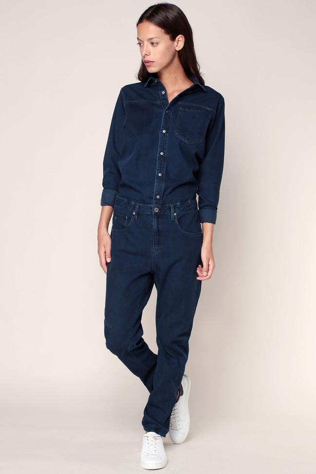 combi pantalon denim bleu arc boilersuit g star combi pantalon monshowroom ventes pas. Black Bedroom Furniture Sets. Home Design Ideas