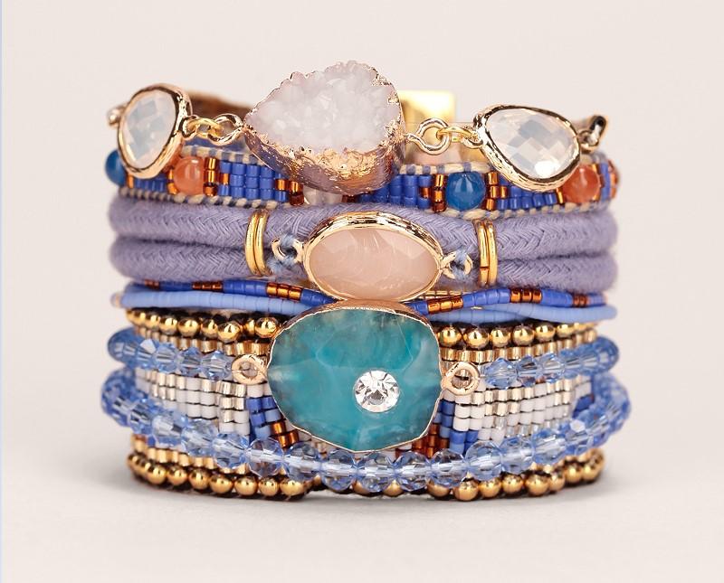 Manchette parme/bleu corde pierres Cobalt Hipanema - Bijoux Monshowroom