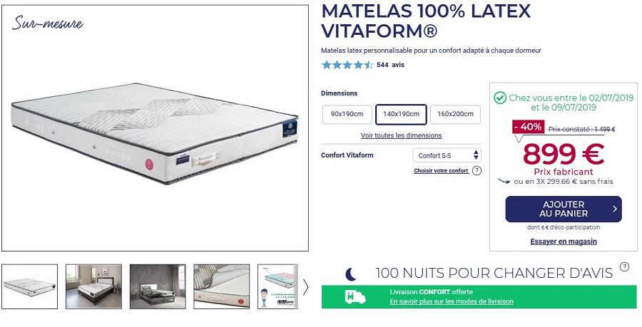 Matelas latex confort sur mesure VITAFORM 140x190 cm - Ma Literie