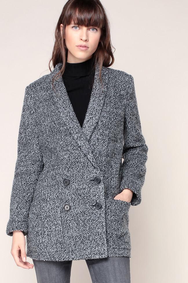 manteau gris chin bouclettes vivienne le temps des cerises manteau femme monshowroom ventes. Black Bedroom Furniture Sets. Home Design Ideas