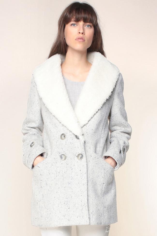 Manteau gris chiné Langele 2Two col fausse fourrure, Manteau Femme Monshowroom