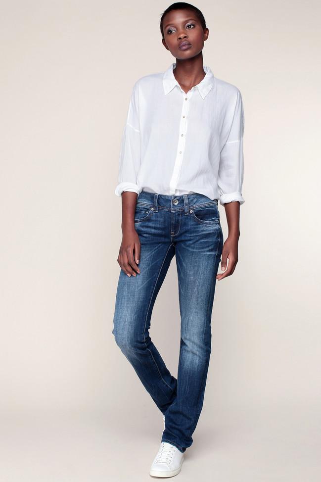 Jean bleu délavé midge saddle mid straight G-star - Jeans Femme Monshowroom