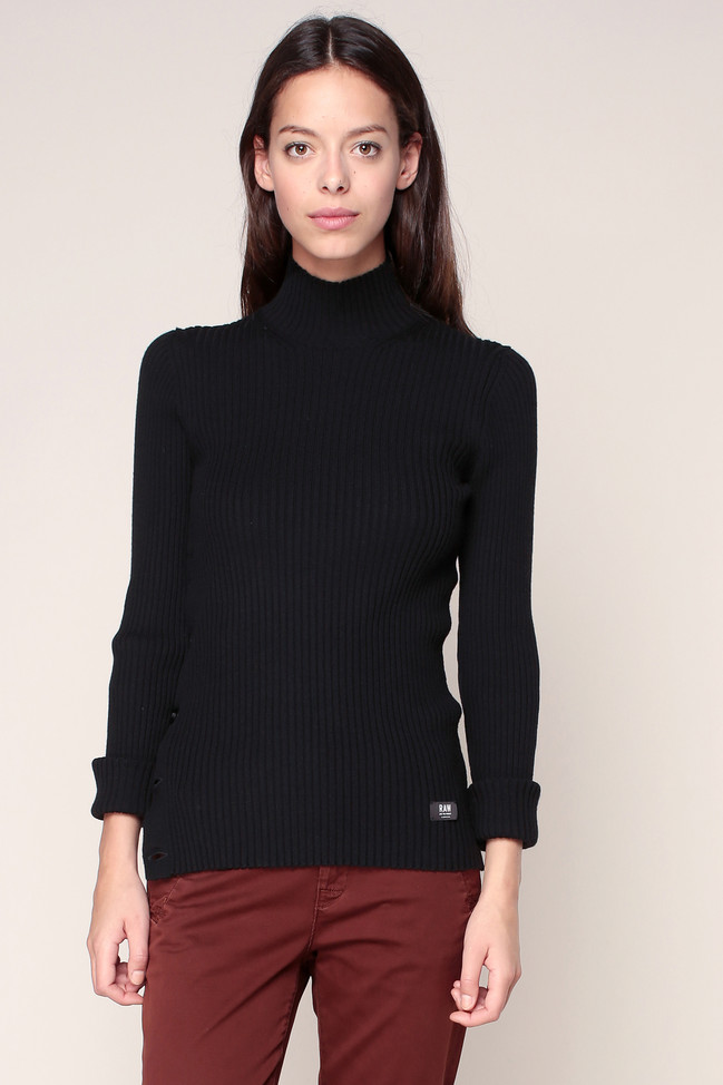 Pull noir manches longues MT Iria turtle knit G-star, Pull Femme Monshowroom