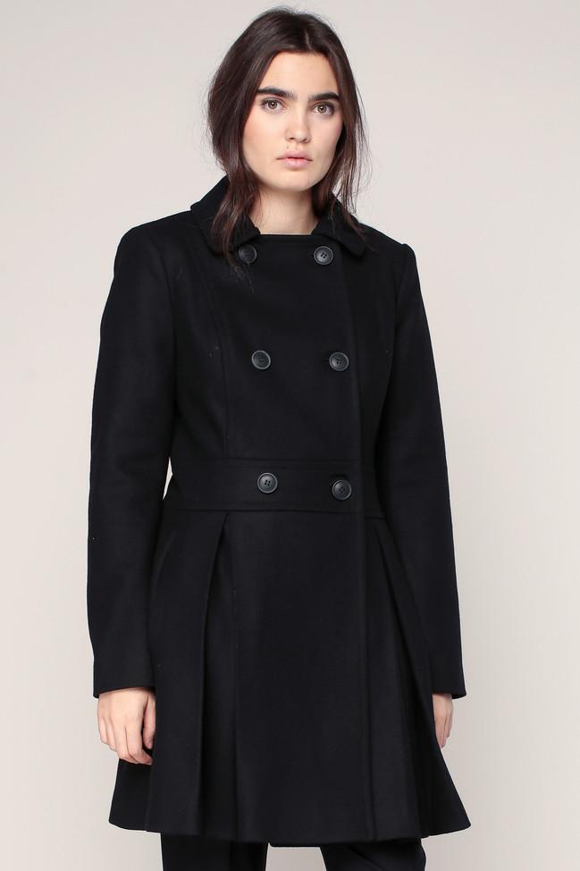 caban laine noir plis ajolie naf naf caban femme monshowroom ventes pas. Black Bedroom Furniture Sets. Home Design Ideas