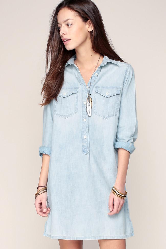 Robe chemise denim indigo Denim and Supply Ralph Lauren, Robe Monshowroom