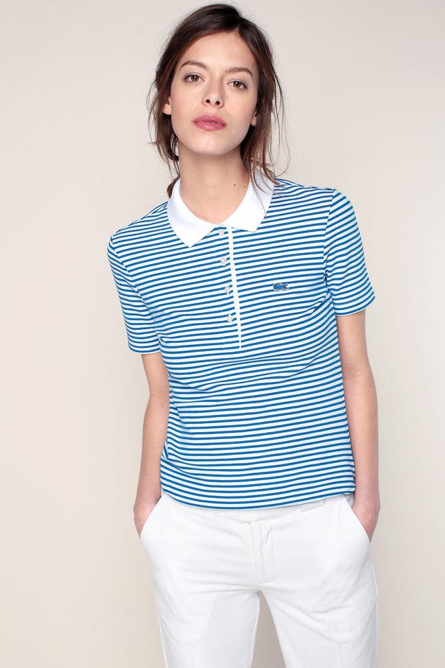 Polo bleu texturé rayé blanc texturé logo brodé Lacoste