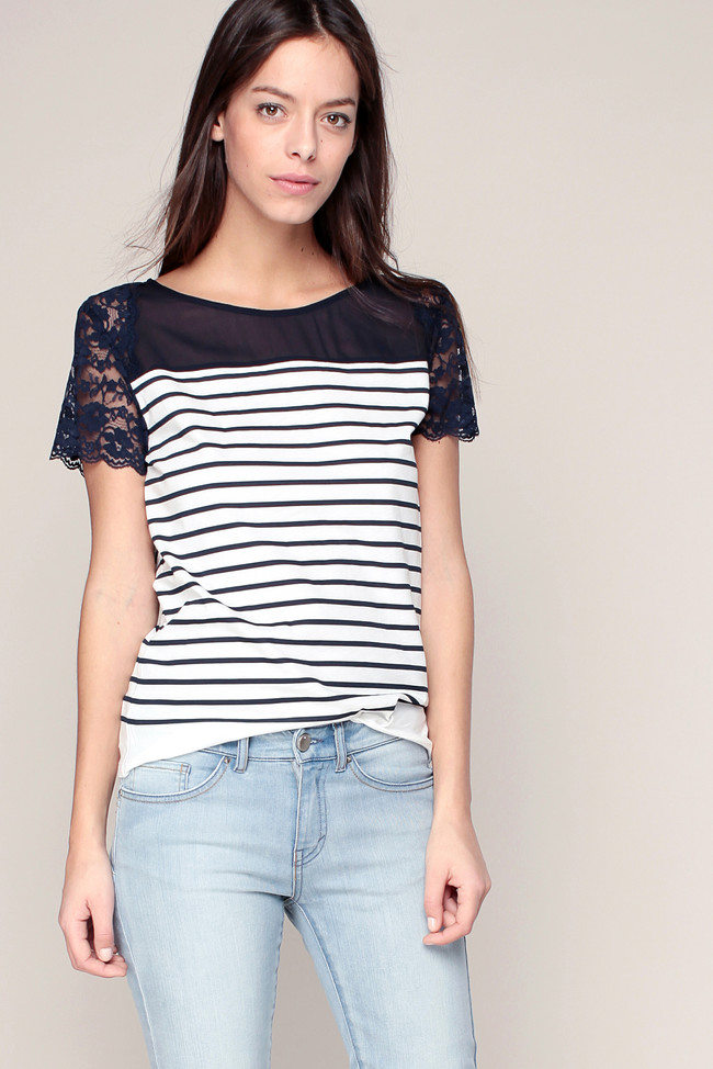 T-shirt rayé marine/blanc empiècement voile/dentelle I Code by IKKS - T-Shirt Monshowroom
