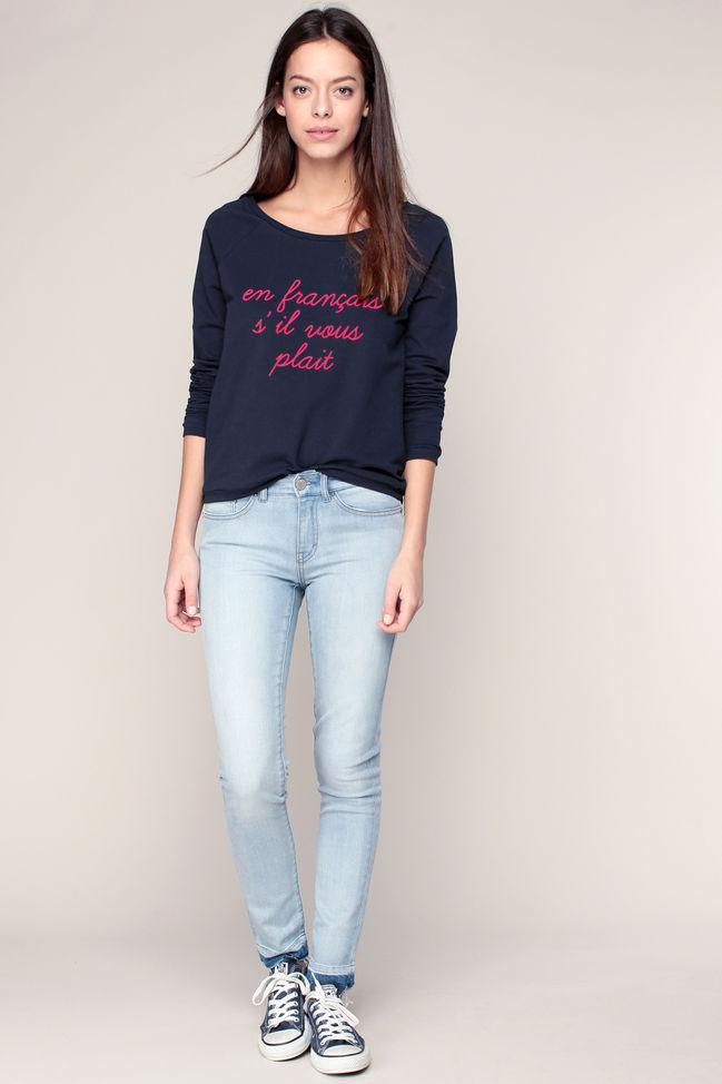Jean slim 7/8 bleu ciel finitions bords francs I Code by IKKS - Jeans Femme Monshowroom