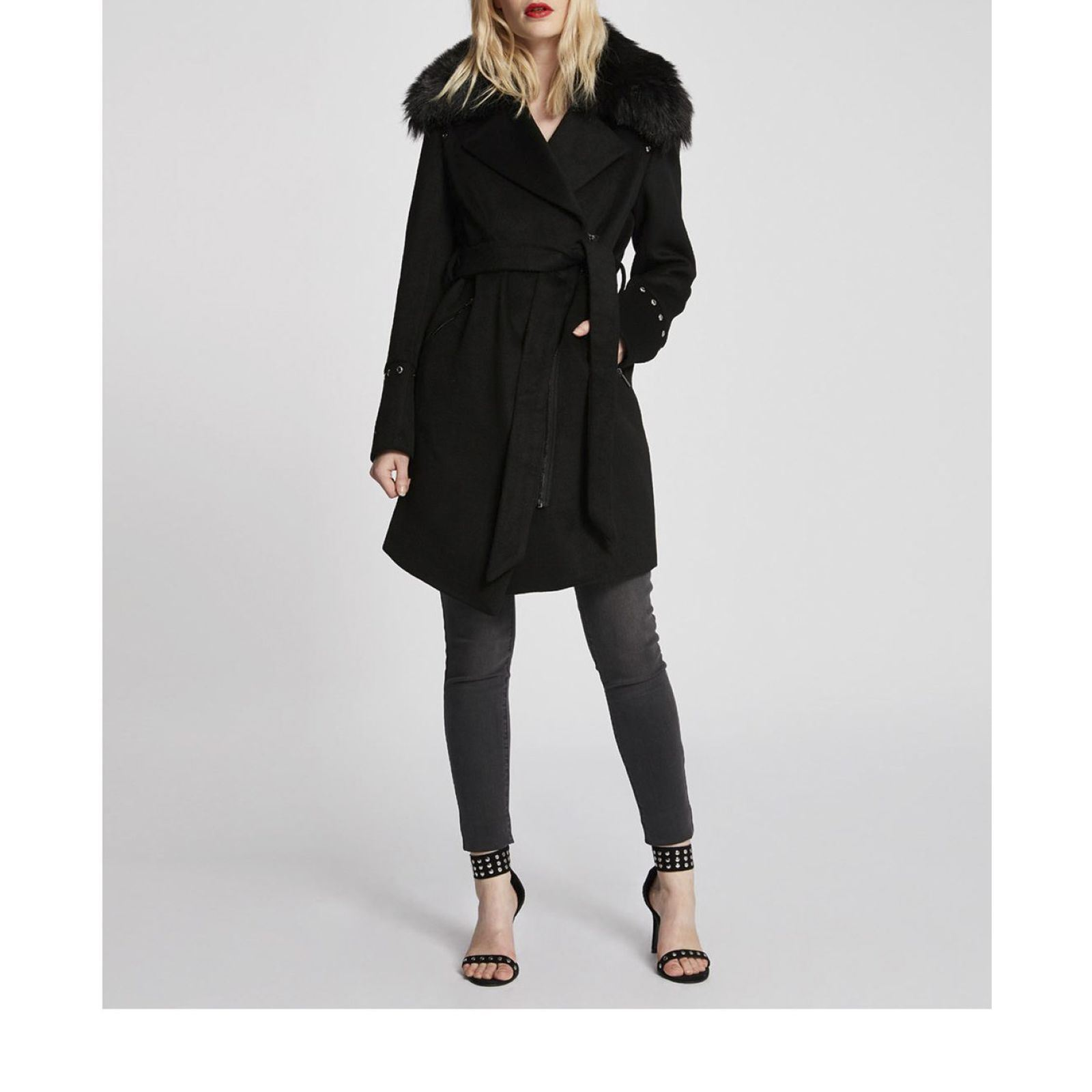 Mujer Collar Coat Frak Fur Morgan Negro Faux CBdeorx