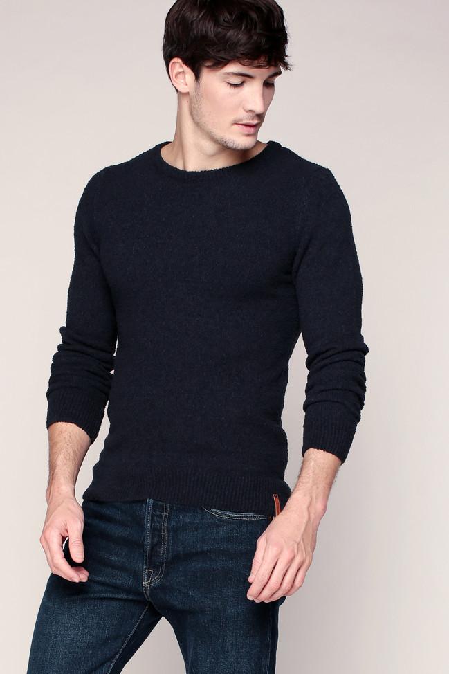 pull marine en coton stretch textur knowledge cotton apparel pull homme monshowroom ventes. Black Bedroom Furniture Sets. Home Design Ideas