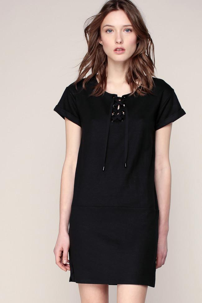 Robe t-shirt noire laçage encolure Lamego Sessun, Robe Monshowroom