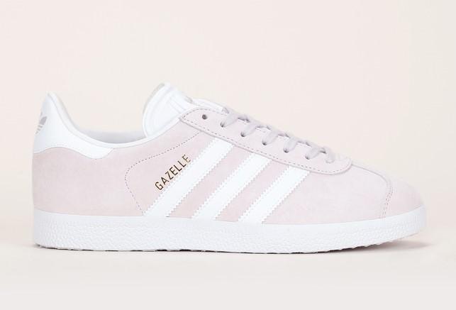 Baskets en cuir suède beige rosé détails blanc Gazelle Adidas Originals - Baskets Monshowroom