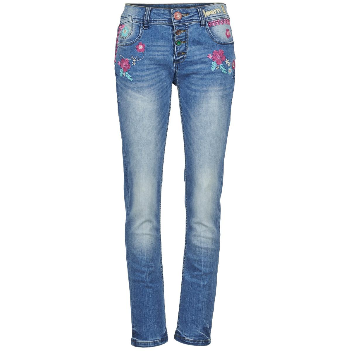 jeans droit desigual eloije bleu medium jeans femme. Black Bedroom Furniture Sets. Home Design Ideas