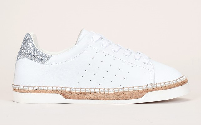 Baskets cuir blanc talon pailleté Lancry Canal St Martin, Baskets Femme Monshowroom