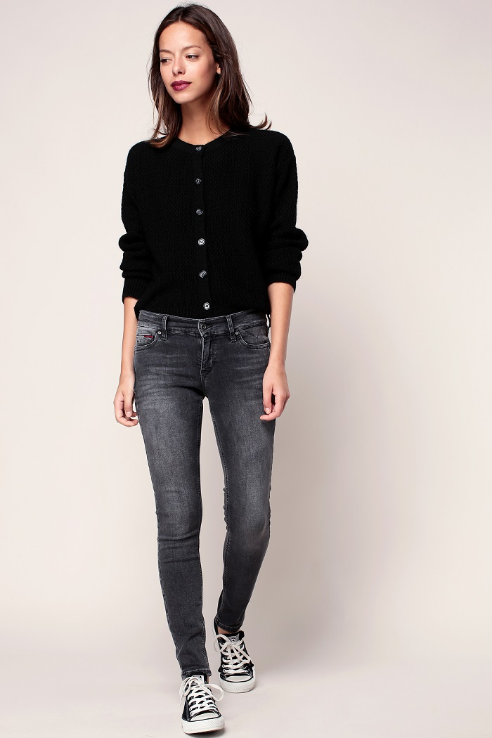 Hilfiger Denim Jean skinny 7/8 délavé gris - Jeans Femme Monshowroom