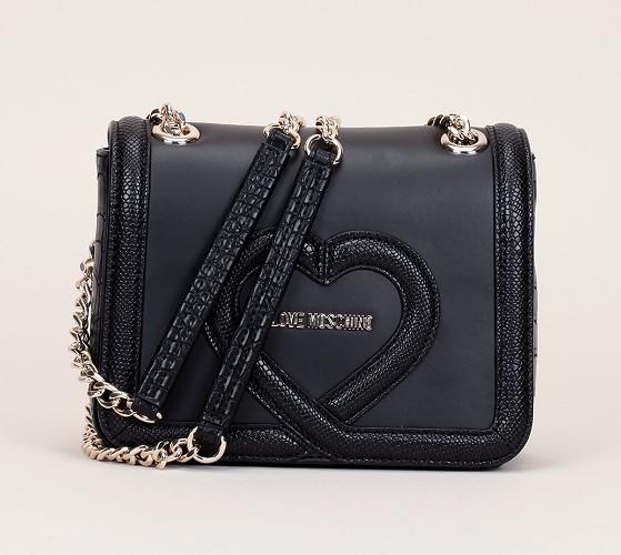 Love Moschino Mini trotteur noir bordures reptile et logo doré - Sacs Monshowroom