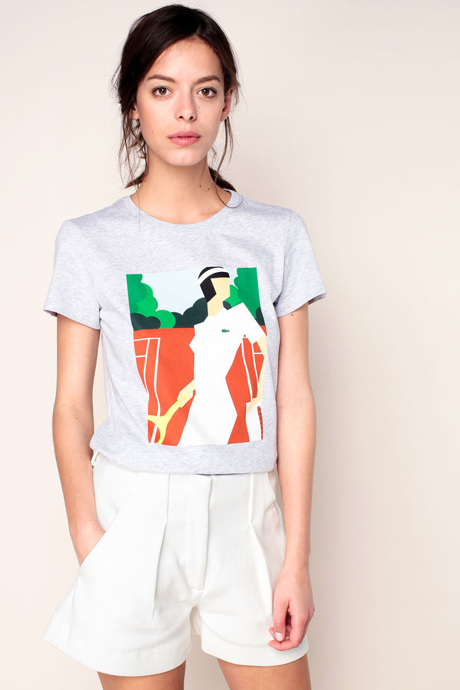 Lacoste T-shirt gris chiné imprimé personnage logo brodé - T-Shirt Femme Monshowroom