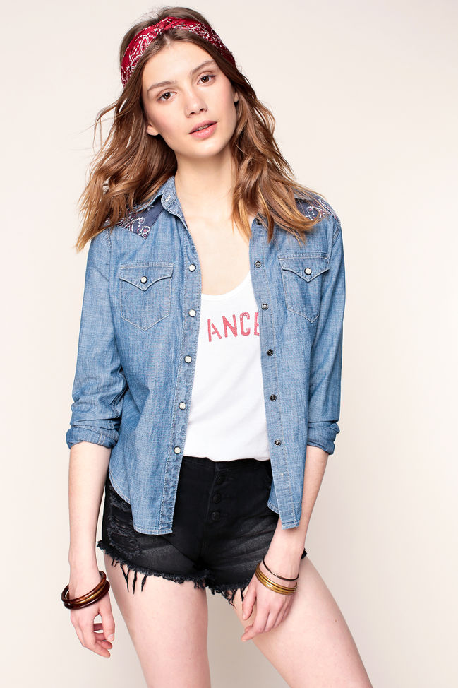 Denim and Supply Ralph Lauren Chemise bleu denim empiècement aux épaules imprimé cachemire