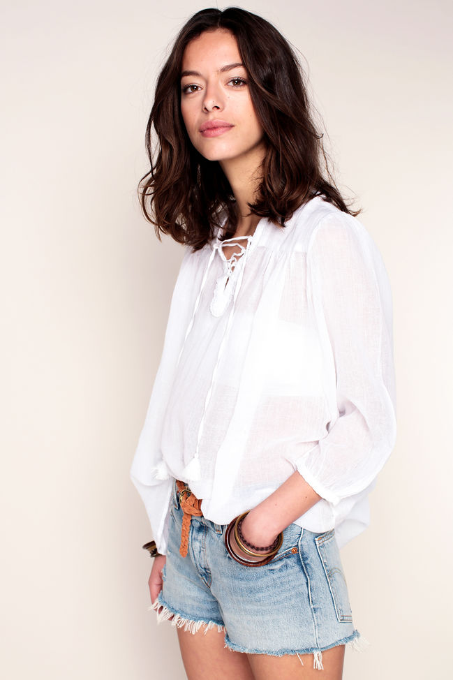 Denim and Supply Ralph Lauren Blouse blanche légère avec col lacé aux finitions dentelées