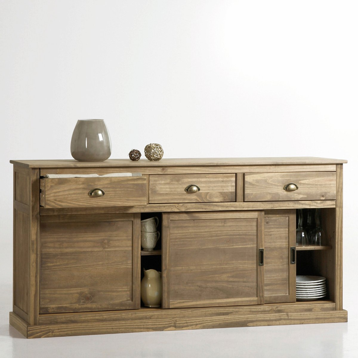 Buffet la redoute buffet portes coulissantes pin massif for Meuble bas portes coulissantes conforama