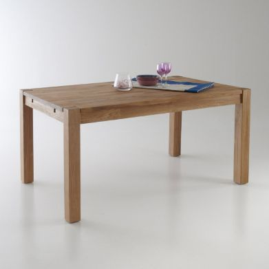 Table rectangulaire 2 allonges ch ne massif 6 10 for Table de salle a manger 15 couverts