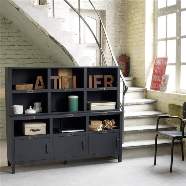 meuble style industriel pas cher. Black Bedroom Furniture Sets. Home Design Ideas