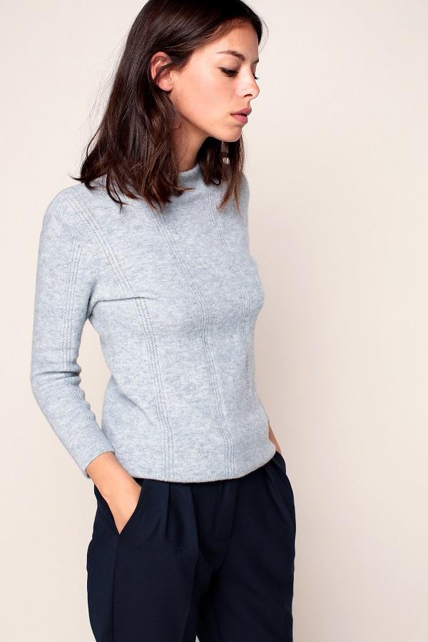 Sessun Hanau Pull bleu pâle chiné en laine mélangée détails maille ajourée - Monshowroom