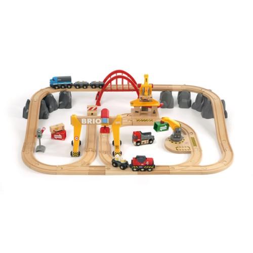 Circuit avec grues et zones de chargement Brio - Jeux d'imagination Oxybul Eveil et Jeux