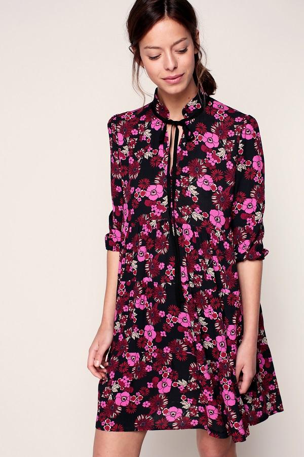 Les Petites Robe noire imprimé fleuri rose col avec lien à nouer  - Monshowwroom