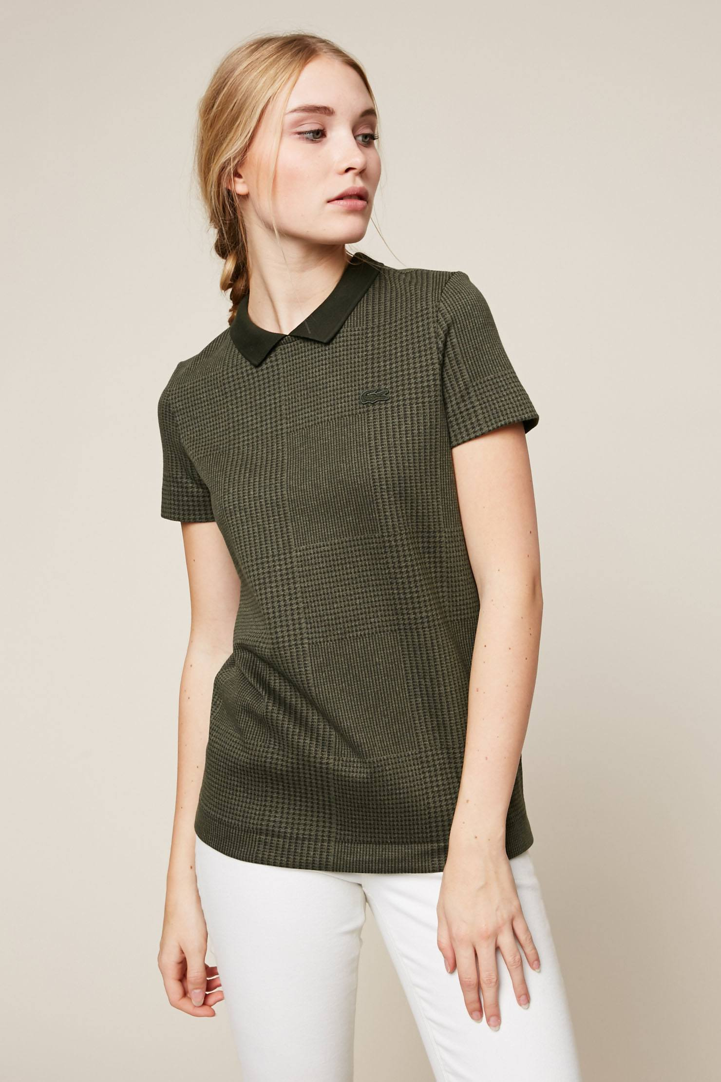 Lacoste T-shirt imprimé pied de poule kaki - T-Shirt Femme Monshowroom