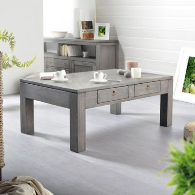 Table basse la redoute table de salon en pin gris bello 100x60 tikamoon v - Table basse en pin pas cher ...