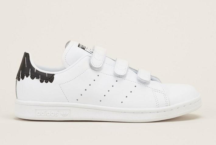 Adidas Originals Sneakers à cratch blanches en cuir et tacheté noire à l'arrière - Baskets Femme Monshowroom