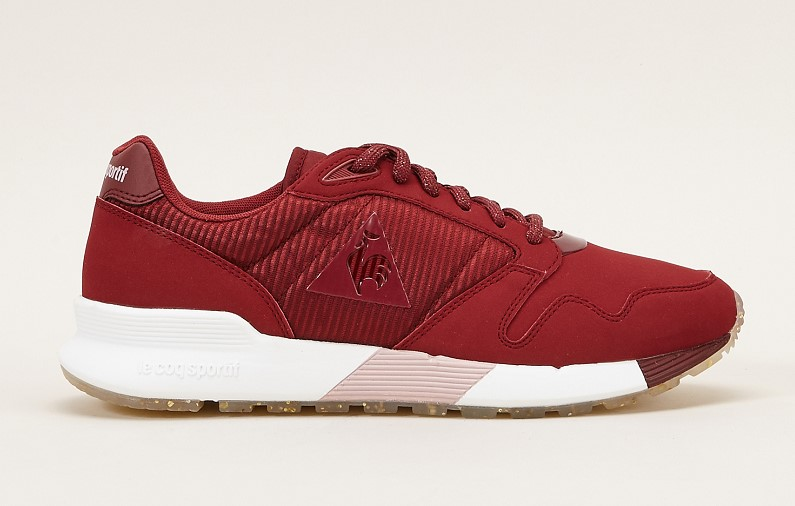 Le Coq Sportif OMEGA X W STRIPED SOCK Sneakers bordeaux à lacets pailletés - Monshowroom